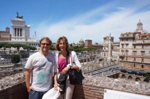 Prof. Salzman and Colin atop Trajan's markets