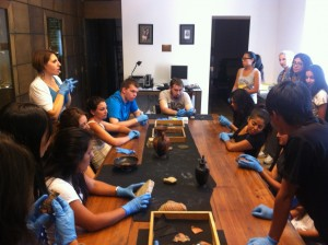 UCR students handling antiquities at the American Academy of Rome's study collection